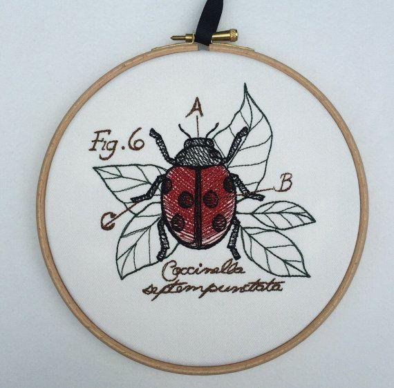 Ladybug ladybird embroidered art coccinella by StitchesOfAnarchy