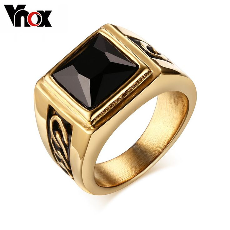Black Agate Men Wedding Rings for Engagement Party Jewelry Stainless Steel Punk Rings for Men/Male  Gold Plated Rings Jewelry