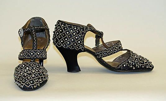 "Evening Shoes: 1921-1925, French, steel beads, rhinestones, leather.    Marking: [label] ""C R, Grand Luke, 101 Champs-Élyseés, Paris"""