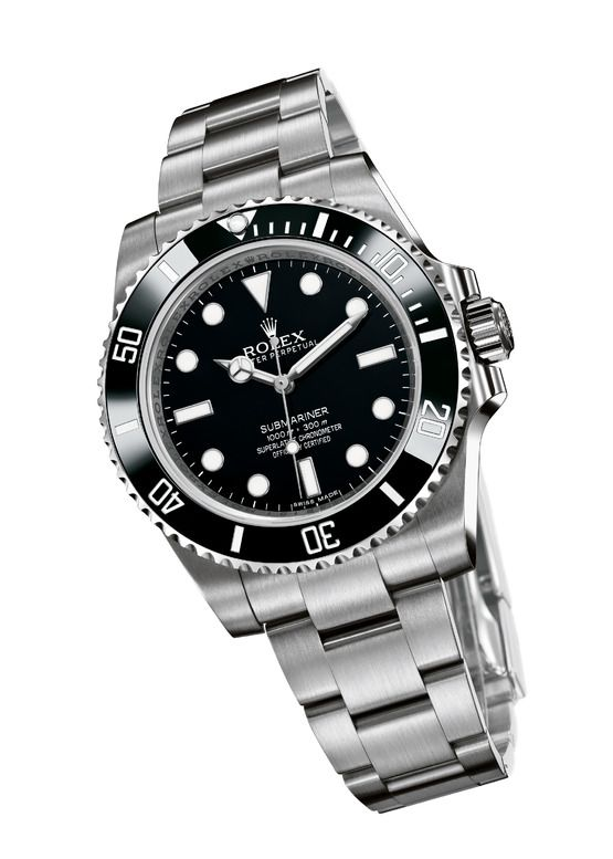 Rolex Submariner No-Date Reference 114060.  Date-less, with a new Cerachom (read: scratch proof) bezel, solid link Oyster bracelet, and redesigned case.  A classic gets an upgrade.  $7100.00