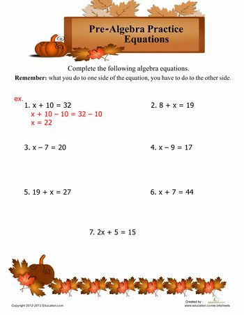 pre algebra online Pre-algebra tutorial videos in this area we build the foundation of algebra as we study the topic of pre-algebra in this online math course, we will learn in detail about negative and positive numbers, exponents, order of operation, basic equations, and much more.