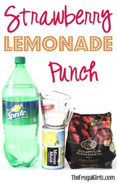 Strawberry Lemonade Punch Recipe! ~ from TheFrugalGirls.com ~ this easy punch is…