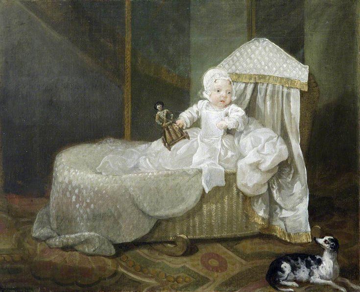 Gerard Anne Edwards Hamilton (1732–73), in His Cradle by William Hogarth c. 1732 (@UptonHouseNT).
