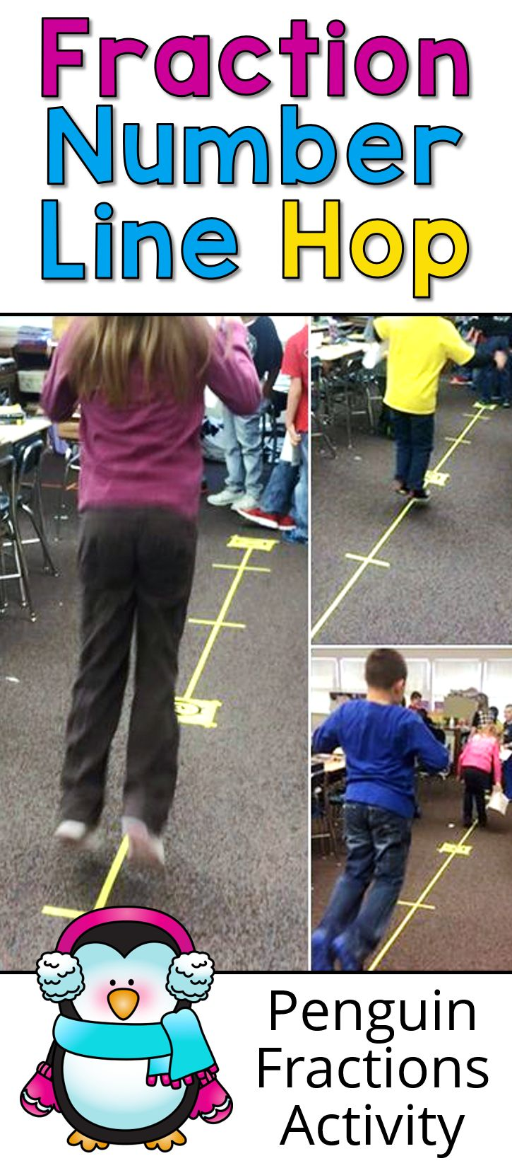 Penguins Hopping on Fraction Number Lines is just one of the activities in Penguin Fractions: Exploring the Basics by Laura Candler. Fun way for kids to learn about fraction intervals!