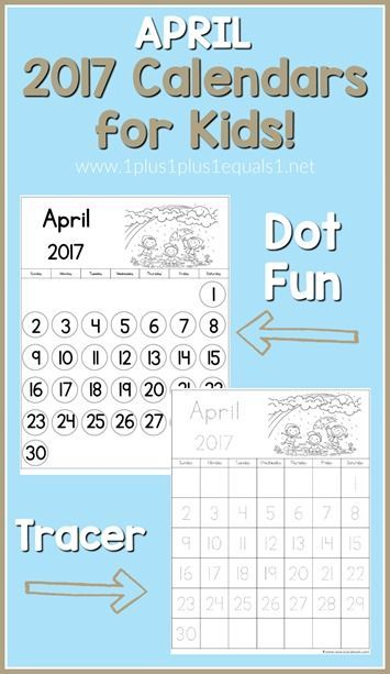 April 2017 Printable Calendars for Kids - 1+1+1=1