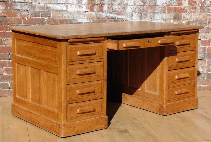Oak Pedestal Kneehole Desk 1940s