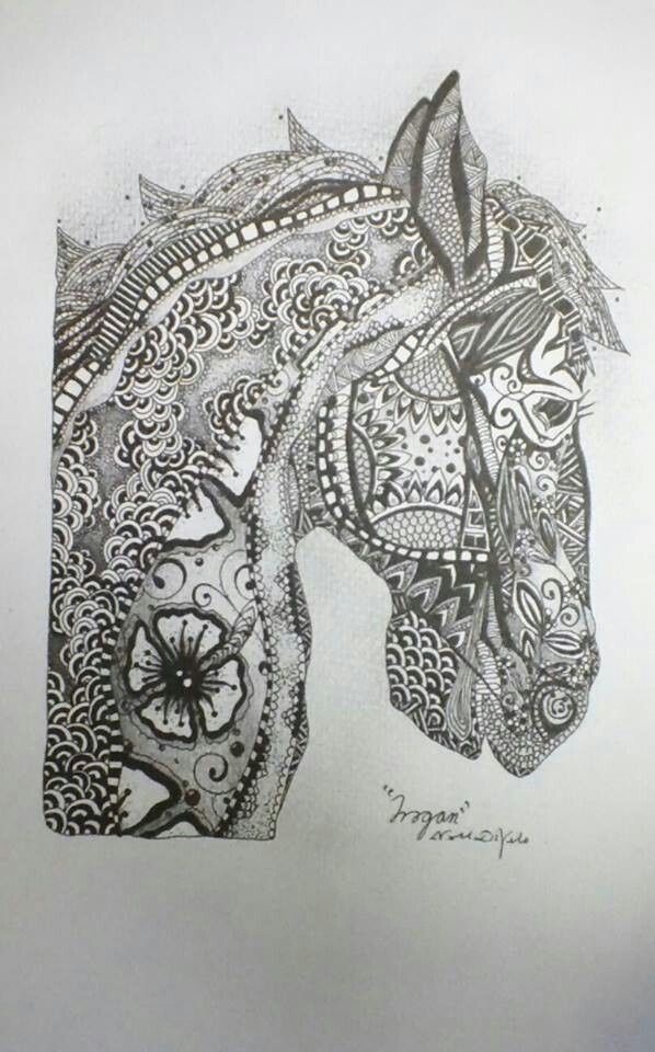Trogan By Natalie Di Vito Pencil And Ink Zentangle Horse Art Signed