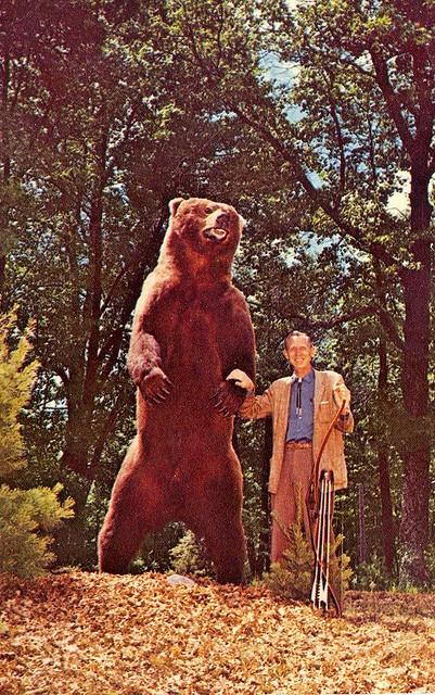 Michigan Ourtdoor's Archer Fred Bear w 1000lb Bow and Arrow taken Alaskan Brown Bear 1960