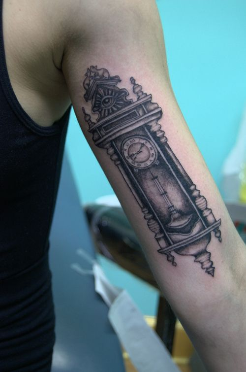 The Best Grandfather Clock Tattoo On Arm photo - 4