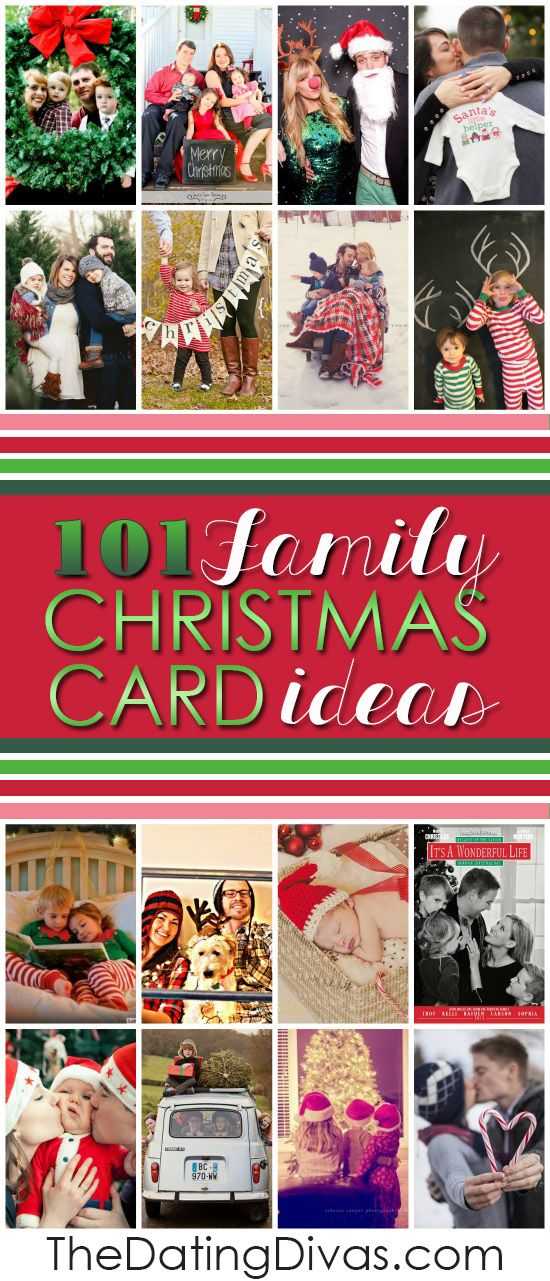 Over 100 ideas for cute and creative family Christmas cards including photos, captions, props, and even free templates! TONS of great Christmas photography inspiration in this post- LOVE it!! www.TheDatingDivas.com