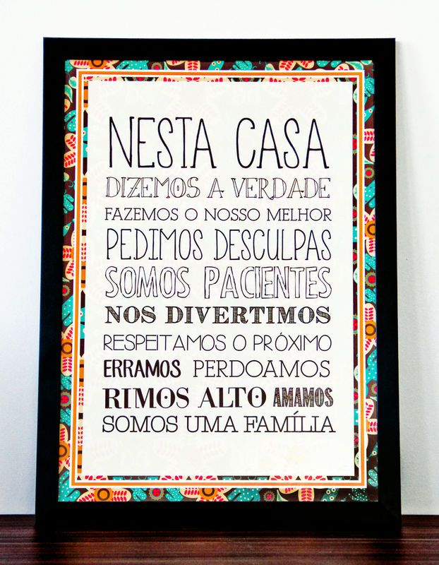 Quadro 32.5x45 Nesta Casa/Regras  - Lupi Design