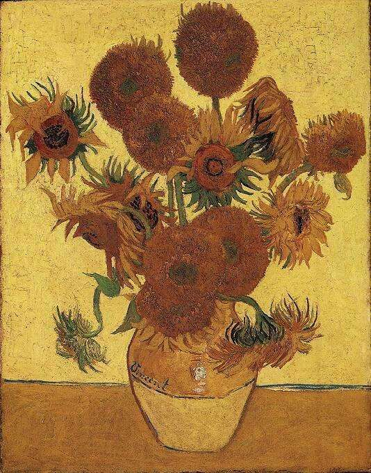 1888 - Still Life Vase with Fifteen Sunflowers