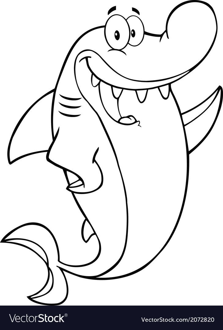 - Cartoon Shark Vector Image On (With Images) Shark Coloring Pages