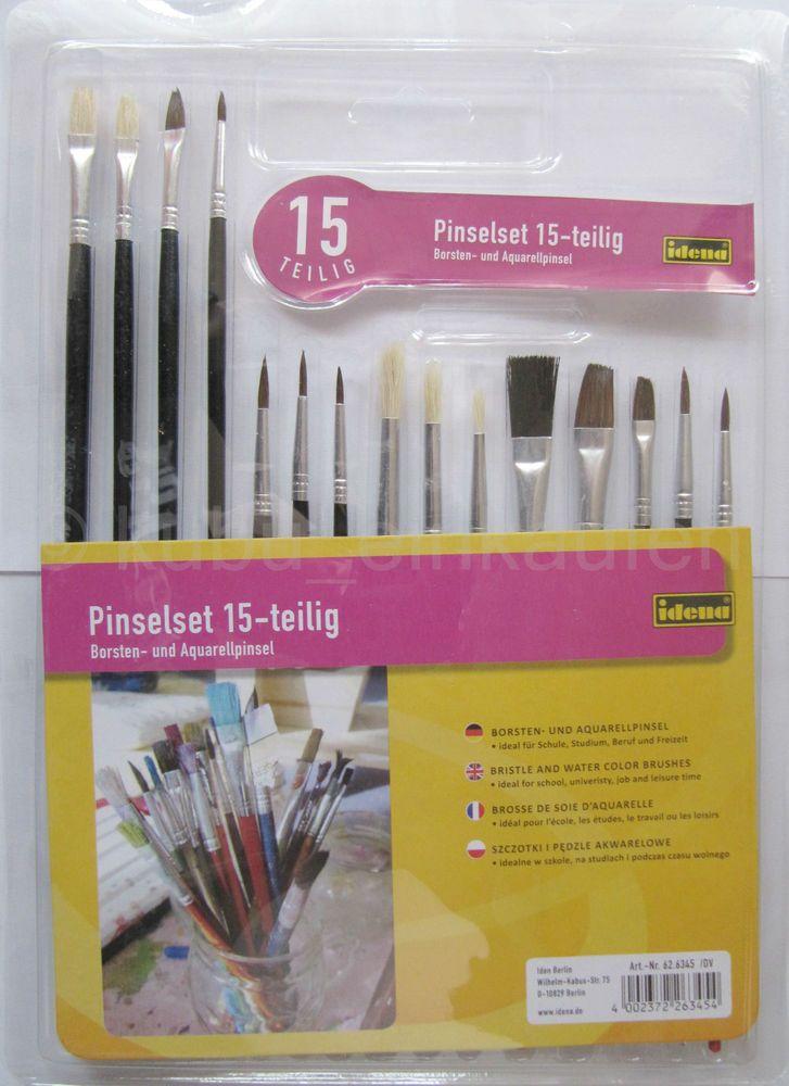 Pinselset 15 teilig Borstenpinsel Aquarellpinsel, Pinsel Set Kunst Hobby Malen