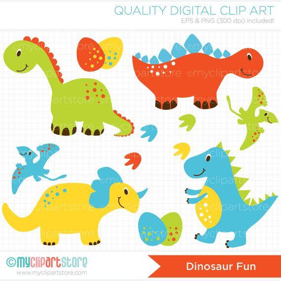 Dinosaur Fun Clip Art / Digital Clipart - Instant Download