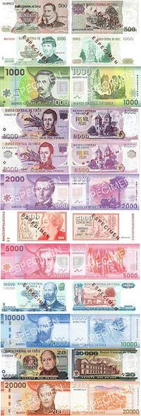Chile's money denomination is the peso. The current version began circulation in 1975. Approximately 529.45 pesos is equal to one US dollar. The inflation rate is about 1.5% per year. The peso is divided into 100 centavos, similar to the US dollar being divided into 100 cents.  #1A