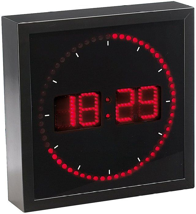 horloge digitale murale avec 60 led rouge wish list. Black Bedroom Furniture Sets. Home Design Ideas