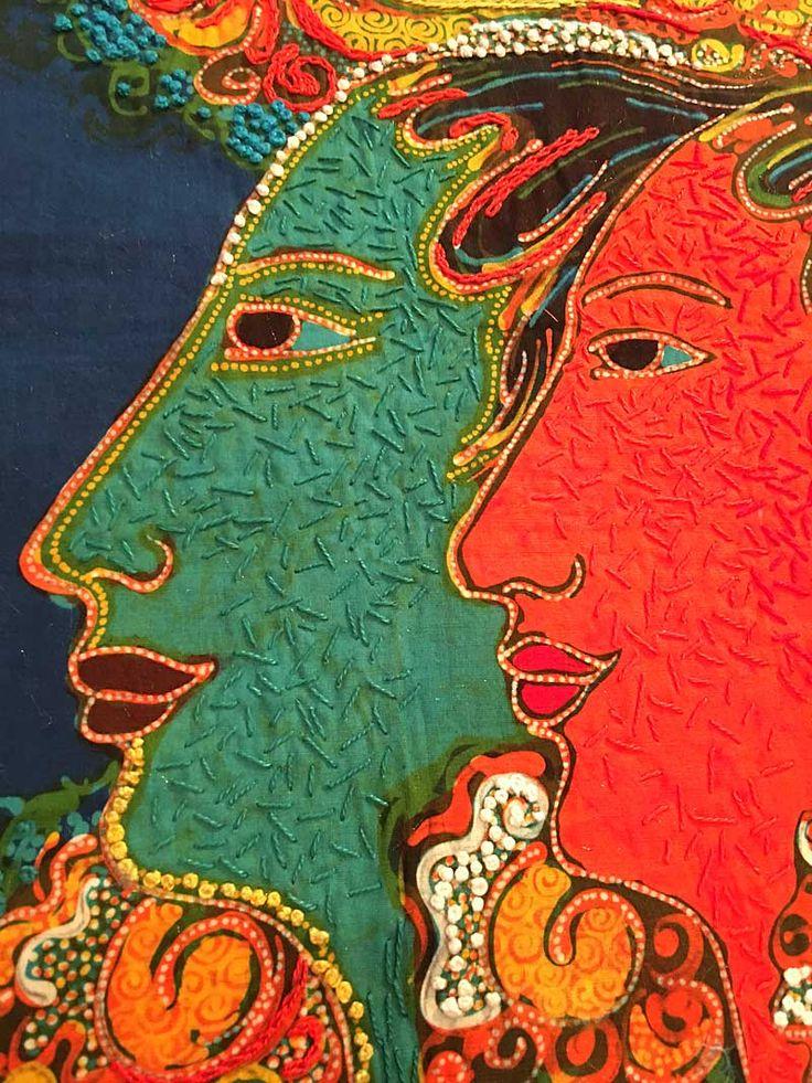 Mahyar batik panel detail: hand stitching with Eleganza cotton by WonderFil