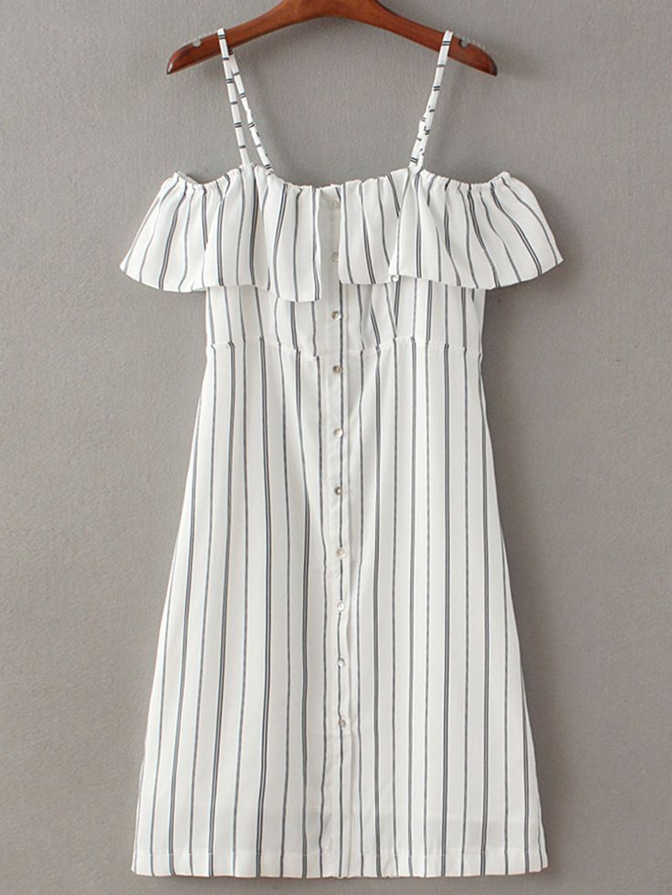 Shop Black White Stripe Buttons Front Spaghetti Strap Dress online. SheIn offers…