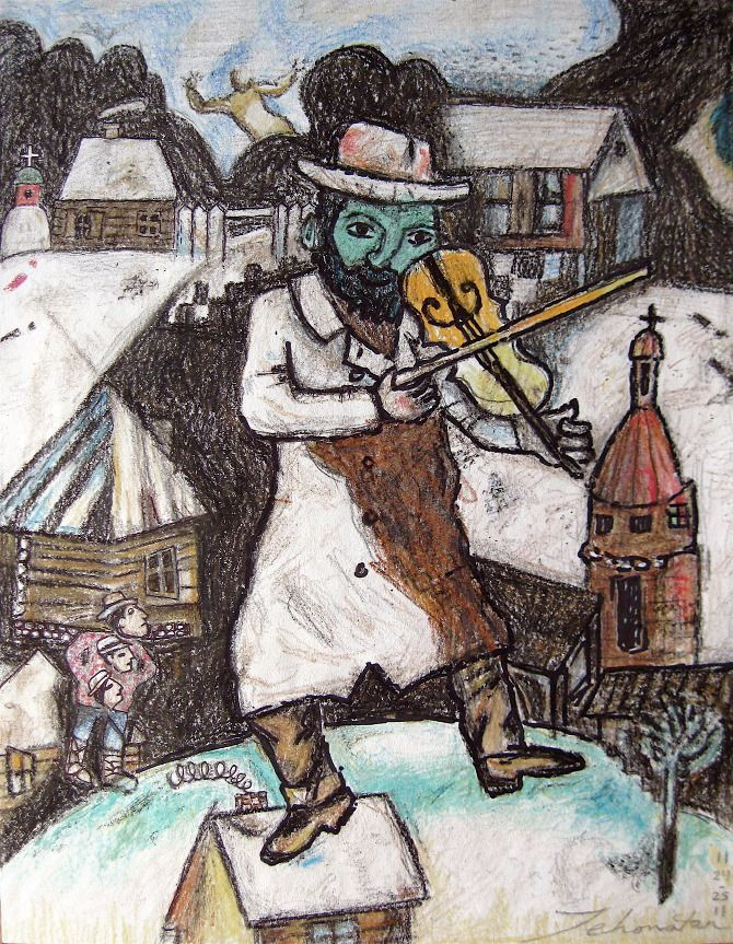 "green violinist chagall | The Green Violinist"" (after Marc Chagall, 1913) recreated by artist Jonathan Shaw (Yehonatan)"