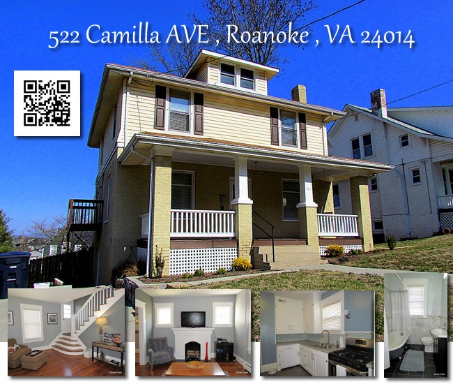MLS # 778913 - Offered At $174,950  522 Camilla AVE , Roanoke , VA 24014    Beautifully renovated home on historic Mill Mountain. Updated kitchen with custom backsplash, new gas stove and refrigerator. Totally renovated baths w/marble, slate floors and glass tile work. Refinished hardwood floors, fresh paint, new air, new front porch, new privacy fence. Views. Call Jane Metcalfe @ MKB REALTORS for more details 540-798-1126