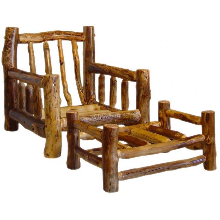 Beartooth Aspen Log Futon Chair And Ottoman