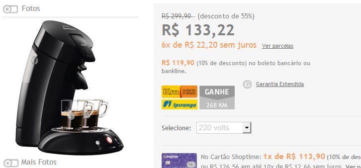 Cafeteira Expresso Senseo HD7811 - Preta ou Vermelha << R$ 11990 >>