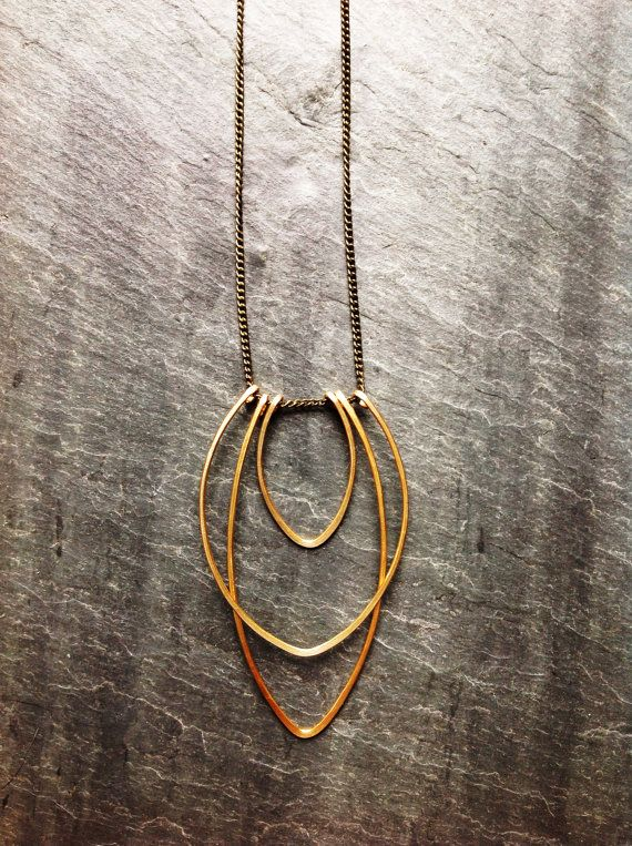 Art Deco Geometric Hammered Gold Flame Necklace - By Loop Jewelry - hammered silver - hammered gold- geometric jewelry-art deco