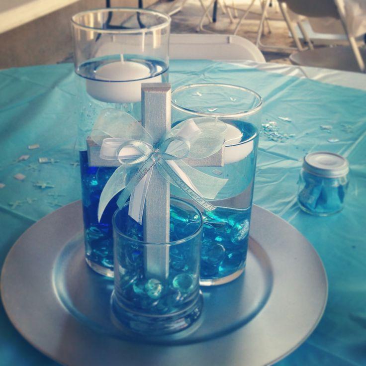 Boy baptism center pieces.