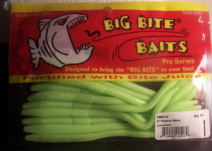 "1 Pack of Big Bite Baits Pro Series 6"" Finesse Worm Limetruse   Color  #BigBiteBaits"