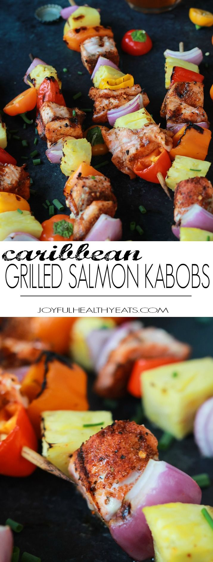 Caribbean Grilled Salmon Kabobs will take you straight to the islands with the cajun spices, fresh pineapple, bell peppers, and fresh seafood! Perfect healthy grilling recipe for the summer done in 20 minutes! | joyfulhealthyeats.com #recipes