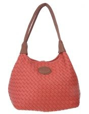 LouenHide Woven Detail Handbag Coral