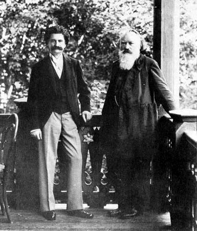 Johann Strauss II (1825 -1899, left) and Johannes Brahms (right) photographed in Vienna