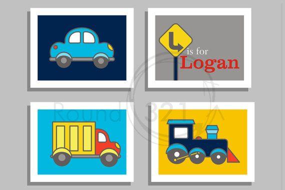 Transportation Print Set - Truck, Train, Car and Personalized Name Set - Wall Art- Nursery Decor - Children's Playroom Bedroom Decor