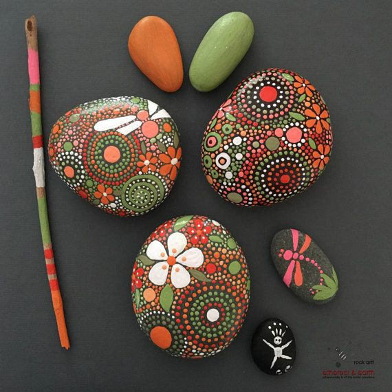 Painted Rocks, Hand-Painted Stones, Mandala Inspired Design, Natural Art, Free…