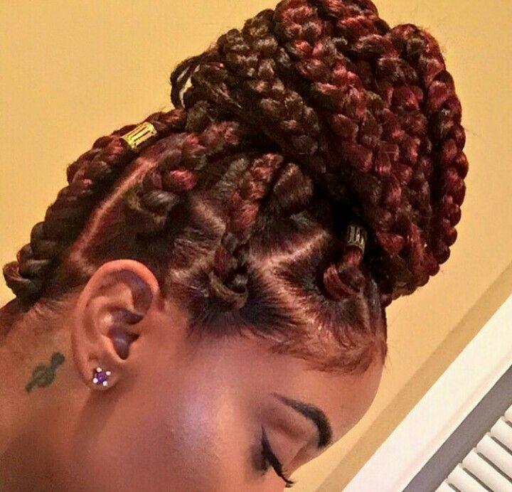 color box braids bun