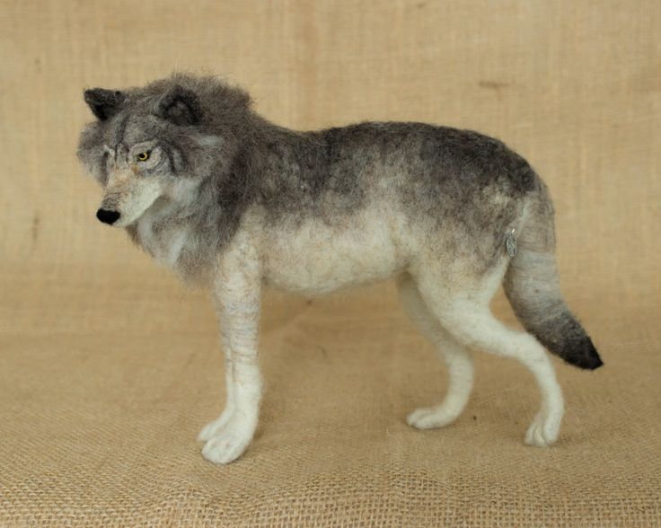 Kyle the Gray Wolf: Needle felted animal sculpture by The Woolen Wagon