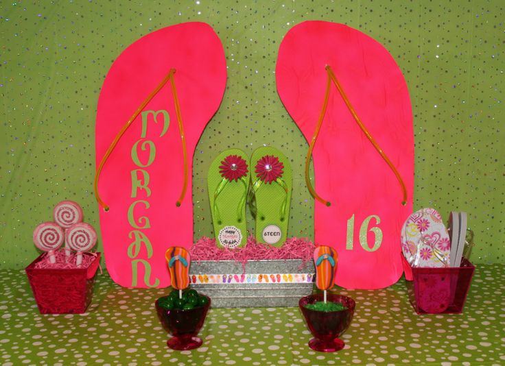 16th Birthday Gift Ideas for Girls | The finished look. Each girls also got to decorate a pair of flip ...