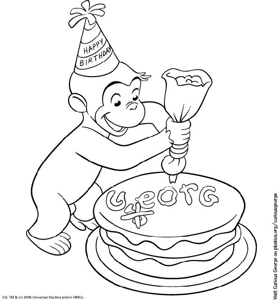 Kids Birthday Party: Curious George Coloring Page - PBS Parents