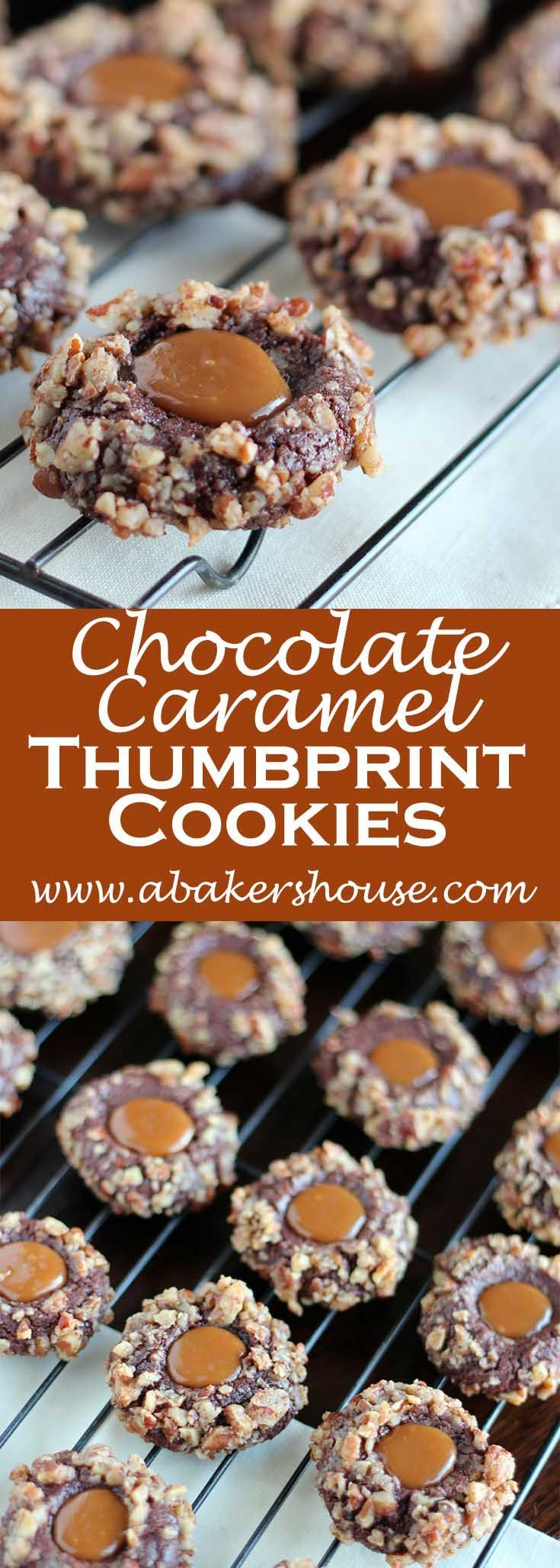 Chocolate Caramel Thumbprint Cookies: The dough is made and refrigerated, then balls of dough are dipped in egg whites and coated with pecans. The caramel is the treat added after baking. Perfect for Holiday cookie exchanges!
