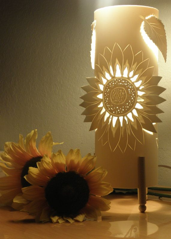Table lamp. Sunflower and Leaves. Handmade. Mother's Day Gift. Upcycled PVC pipe.