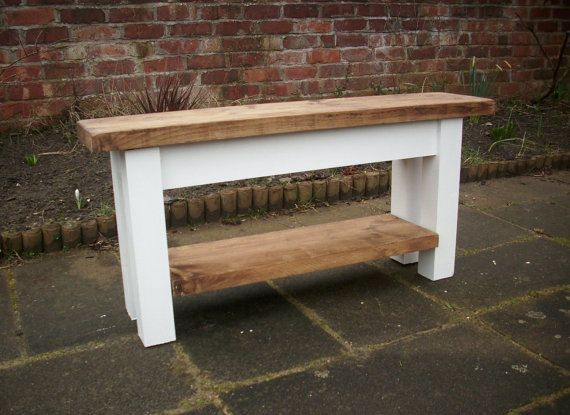 Hallway bench with shoe rack to base pine by Redcottagefurniture
