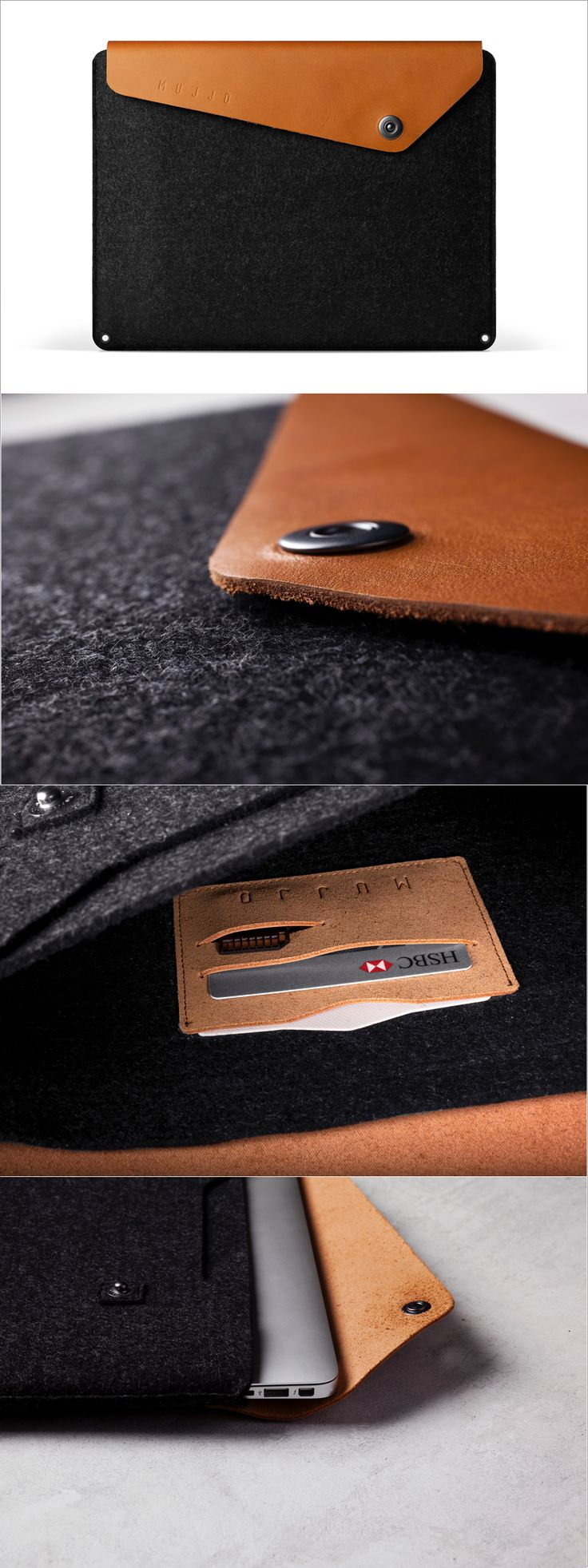 "Crafted out of a unique combination of felt and vegetable-tanned leather, this quintessential sleeve has been designed to fit both the 13"" Macbook Air and 13"" Macbook Pro Retina."