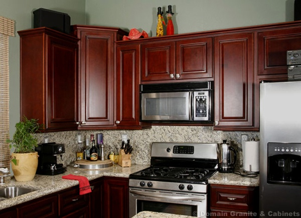 Small kitchen with cherry cabinets dream kitchen for Small upper kitchen cabinets