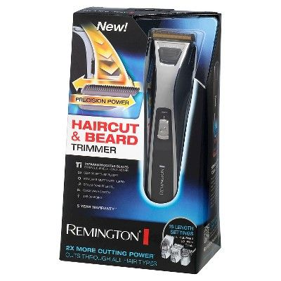 Remington Precision Power Men's Rechargeable Electric Beard and Haircut Trimmer - HC5550, Black
