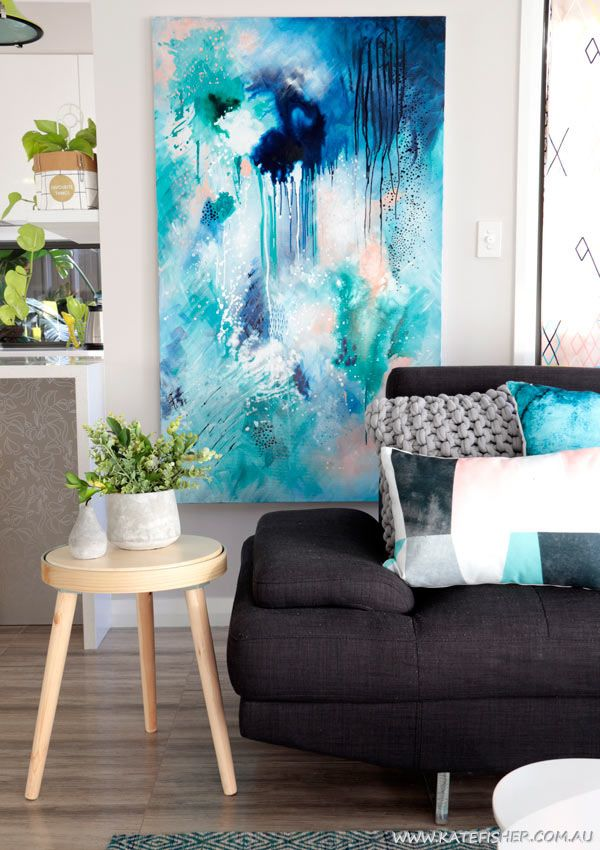"""Phthalo Atmosphere 1"" Original contemporary abstract art painting in blue and green by Australian artist Kate Fisher. Artwork styled in modern living room."