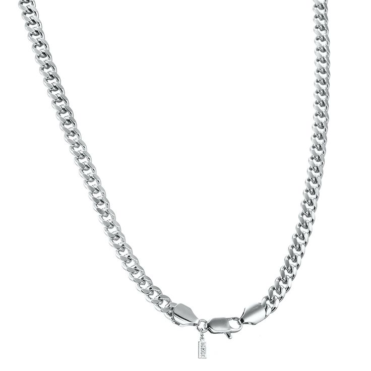 White Gold Layered Unisex Curb Chain Necklace with Lobster Clasp | Allure Gold