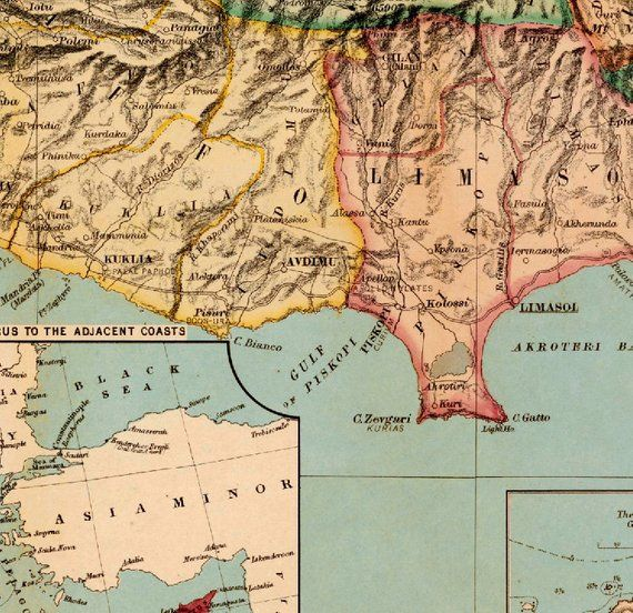 Cyprus Map Historic Map Of Cyprus Old Map Restored Fine Etsy