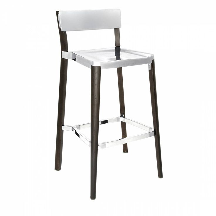 LANCASTER BARSTOOL Our clients have asked us to utilize wood in our designs for years.  Lancaster features a re-claimed, solid ash frame and recycled die-cast aluminum seat and back- an expression of industrial technique and warm materials.