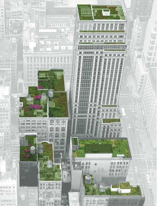 Imagínate que los techos cobren «vida» como en la presente ilustración de la ciudad de Nueva York.-